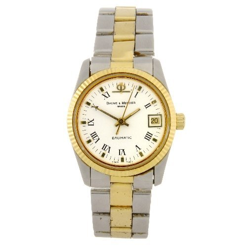 7: Two gold plated Baume & Mercier wrist watches.