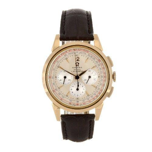 122: An 18k gold automatic chronograph gentleman's Omeg