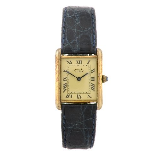 17: (116186920)  A gold plated quartz Cartier Must De C