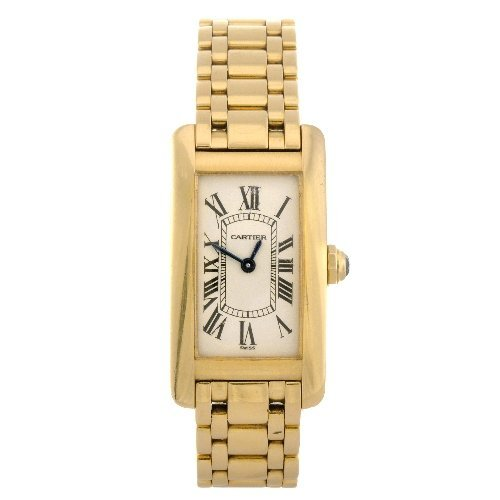 22: (55947) An 18k gold quartz lady's Cartier Tank Amer