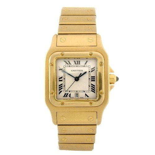 24: (92031) An 18k gold quartz gentleman's Cartier Sant