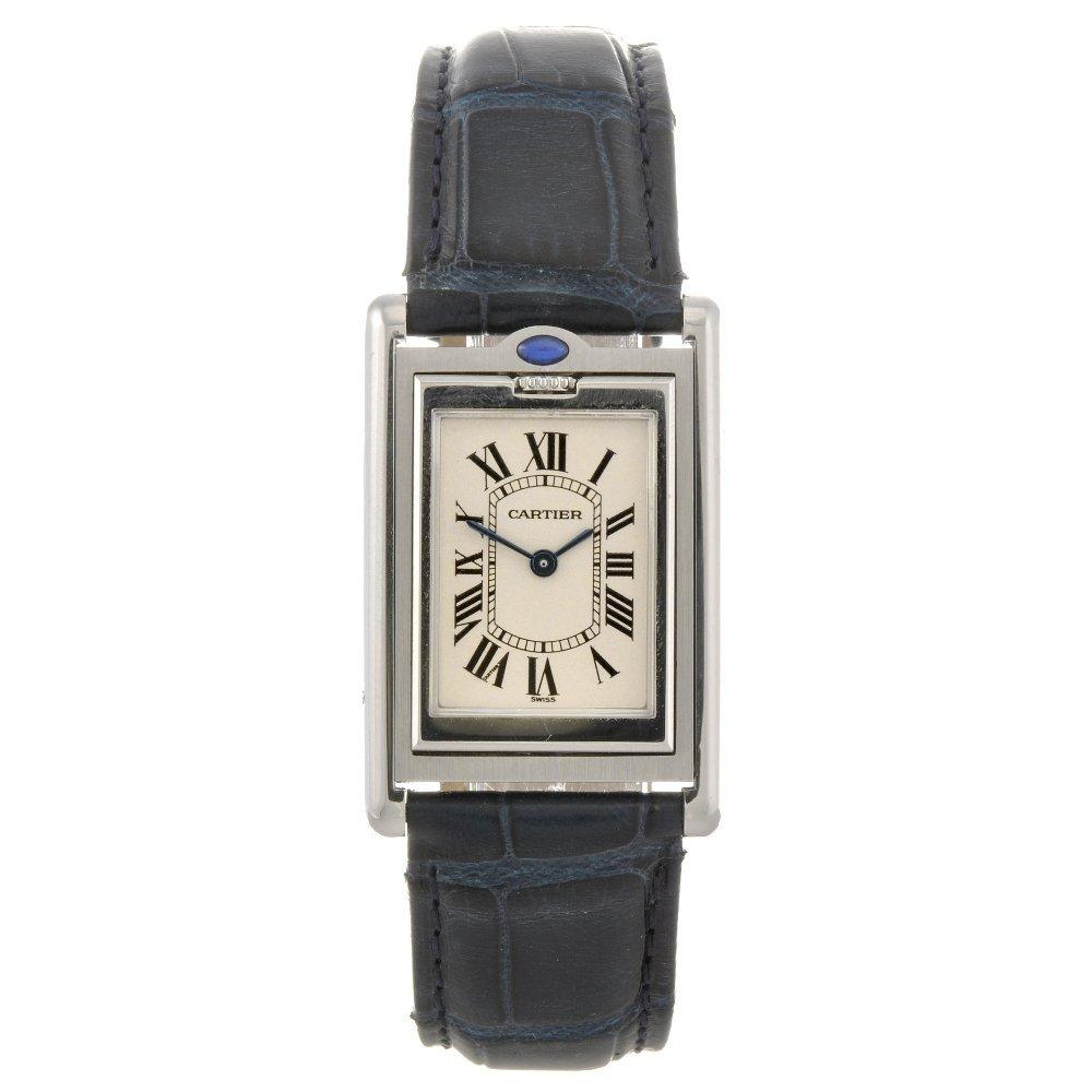 14: A stainless steel quartz Cartier Basculante wrist w