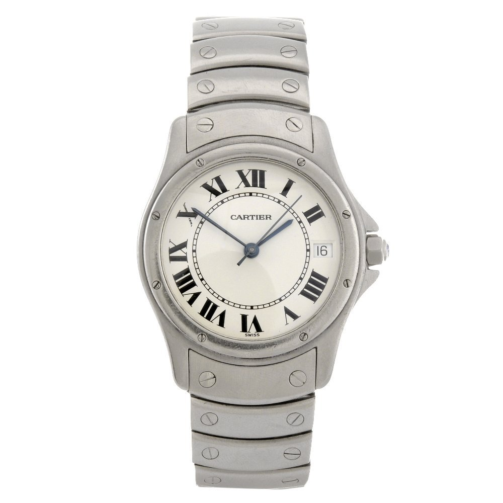 15: A stainless steel automatic gentleman's Cartier San