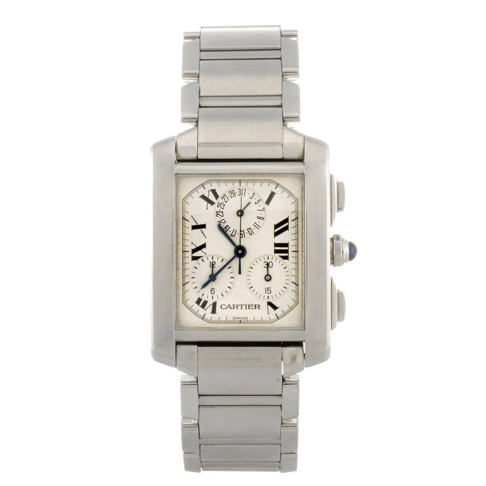 17: A stainless steel quartz chronograph Cartier Tank F