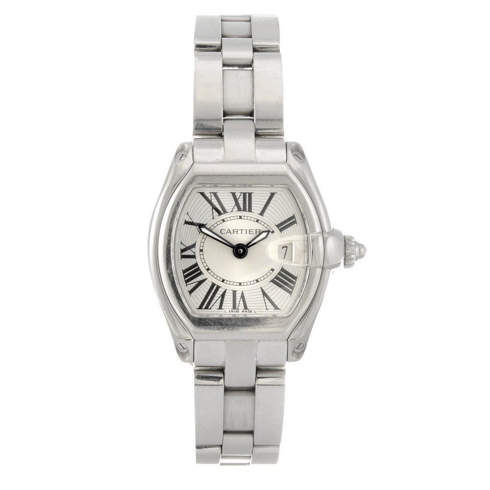 21: A stainless steel quartz lady's Cartier Roadster br