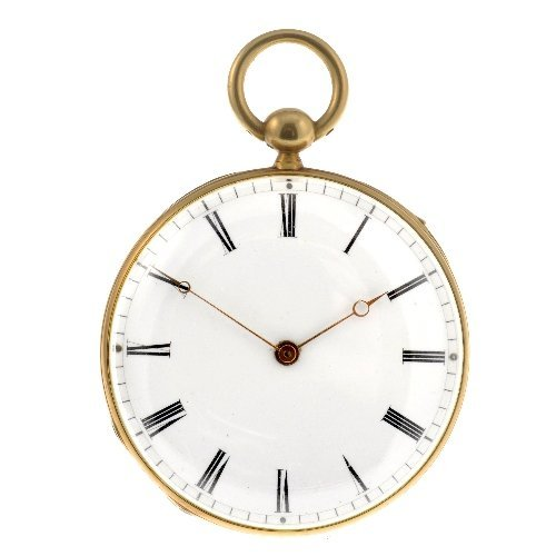 3: An 18k gold key wind open face quarter repeater pock