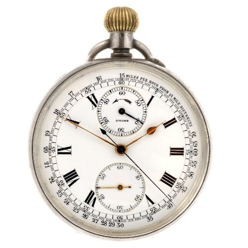 4: A silver keyless wind open face chronograph pocket w