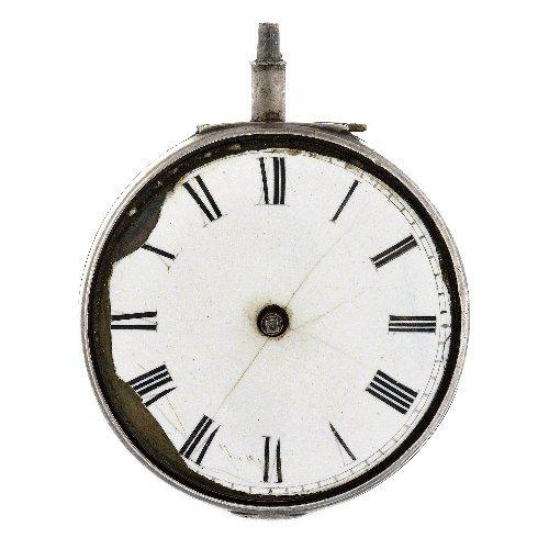 12: A silver key wind open face pair case pocket watch
