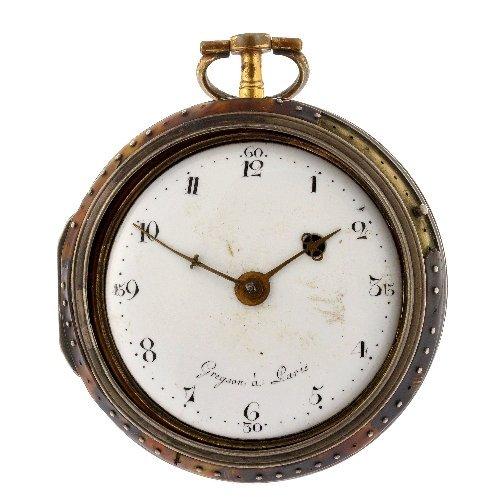 14: A decorated enamel key wind open face pocket watch