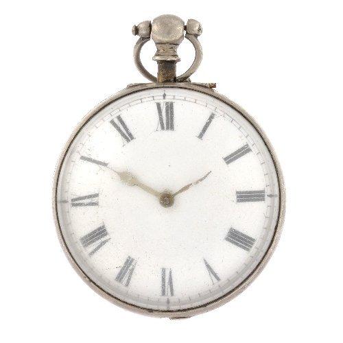 15: A silver key wind open face pocket watch.