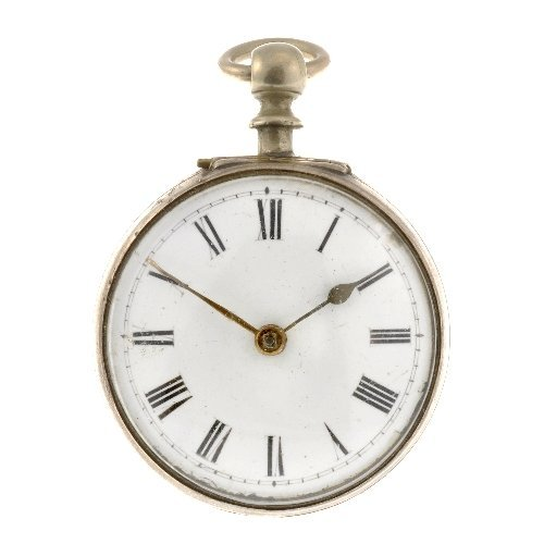 17: An incomplete silver pair case pocket watch.