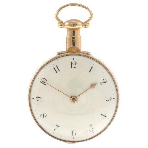 18: A George III 18ct gold key wind pair case pocket wa