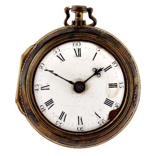 19: A possibly George III gilt key wind pair case pocke