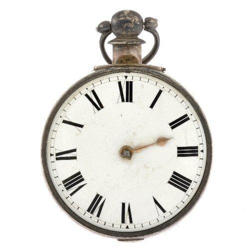 20: A silver key wind pair case pocket watch.