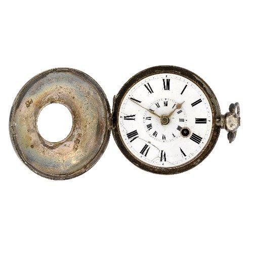 21: A George IV silver key wind half hunter pocket watc