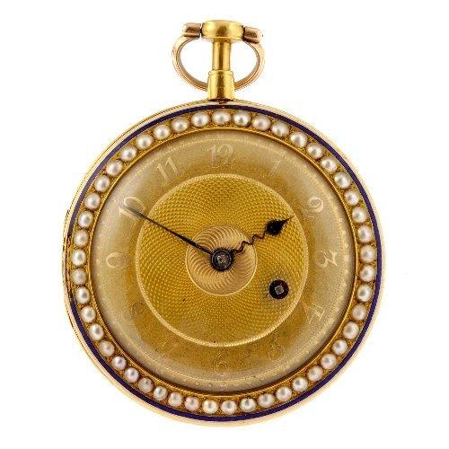 22: An 18k gold key wind open face pocket watch by Wake