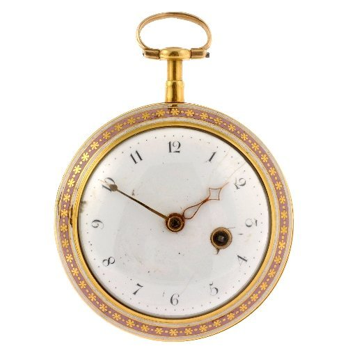 23: An 18k gold key wind open face pocket watch by Jame