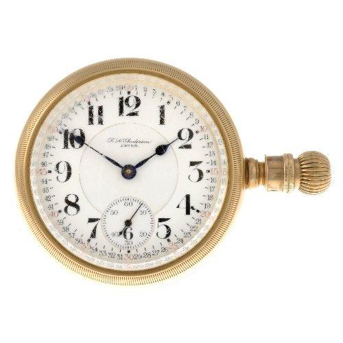 110: A 14k gold keyless wind open face pocket watch by