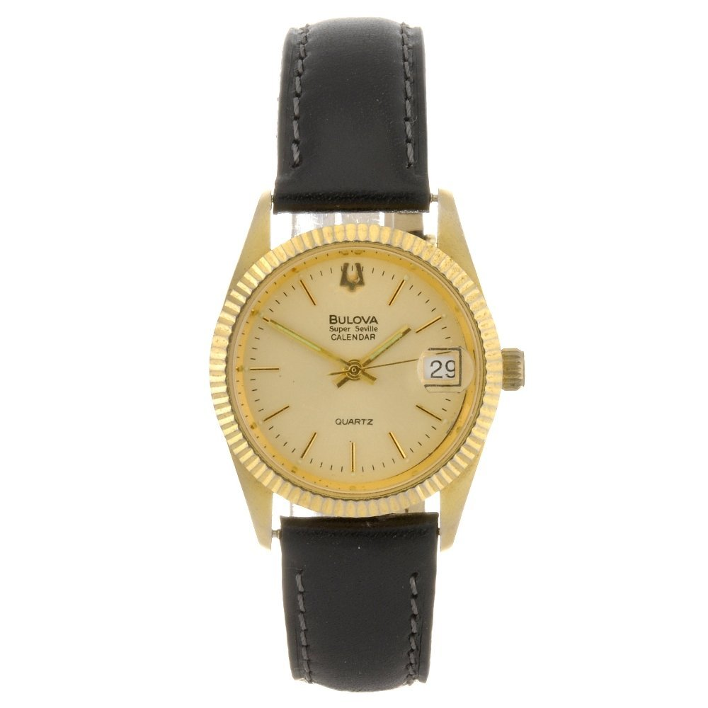 24: A gold plated quartz gentleman's Bulova Super Sevil