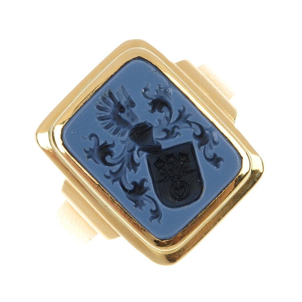 5: A gentleman's hardstone intaglio signet ring.