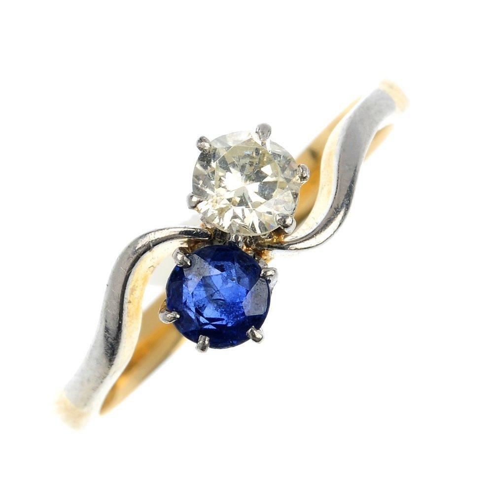 12: A mid 20th century 18ct diamond and sapphire twist