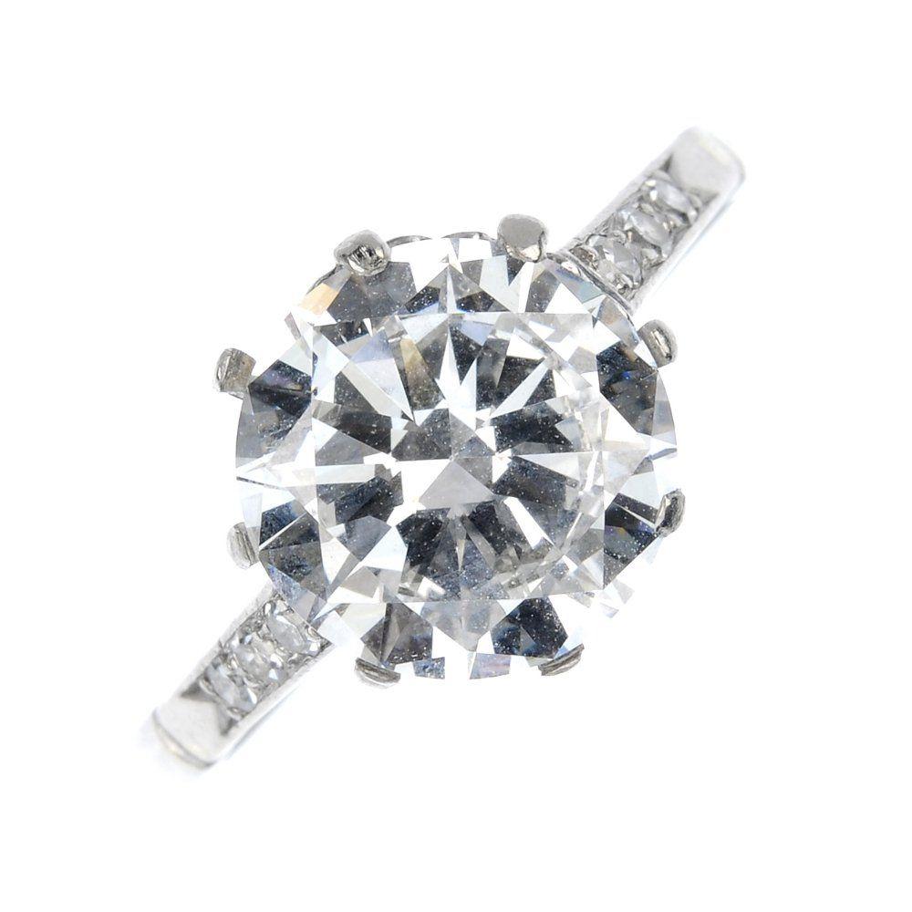 A platinum diamond single-stone ring.