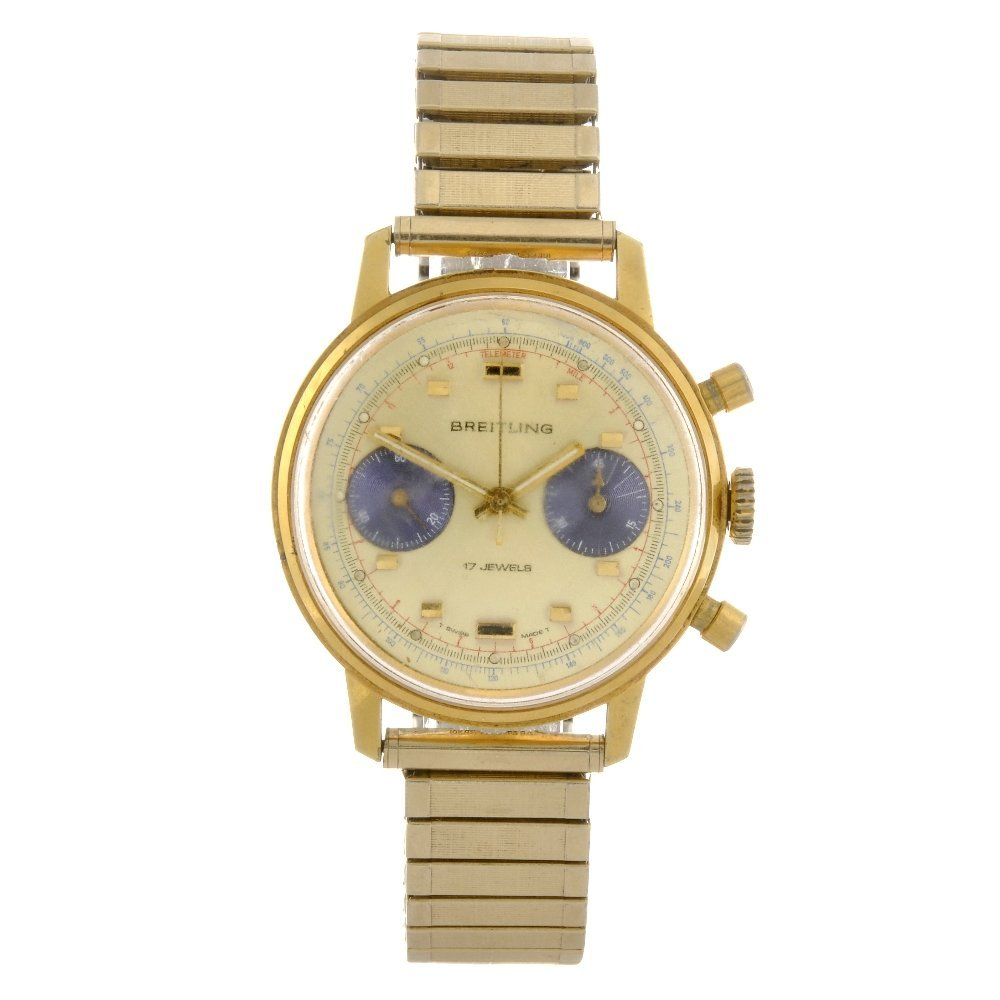 13: A gold plated manual wind chronograph gentleman's B