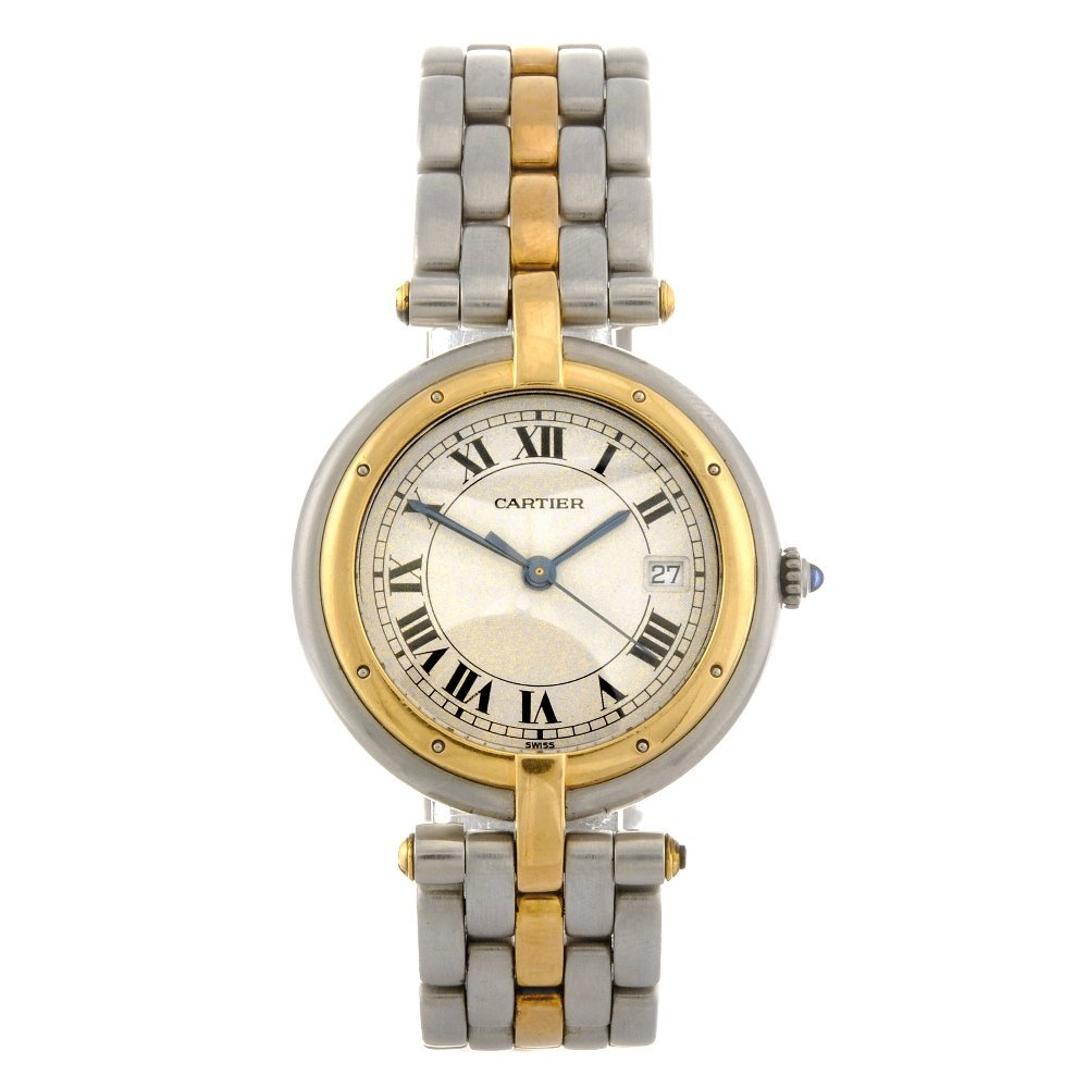 16: A bi-metal quartz lady's Cartier Vendome bracelet w