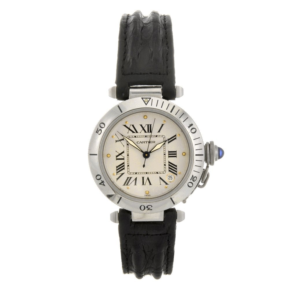 17: A stainless steel automatic Cartier Pasha wrist wat