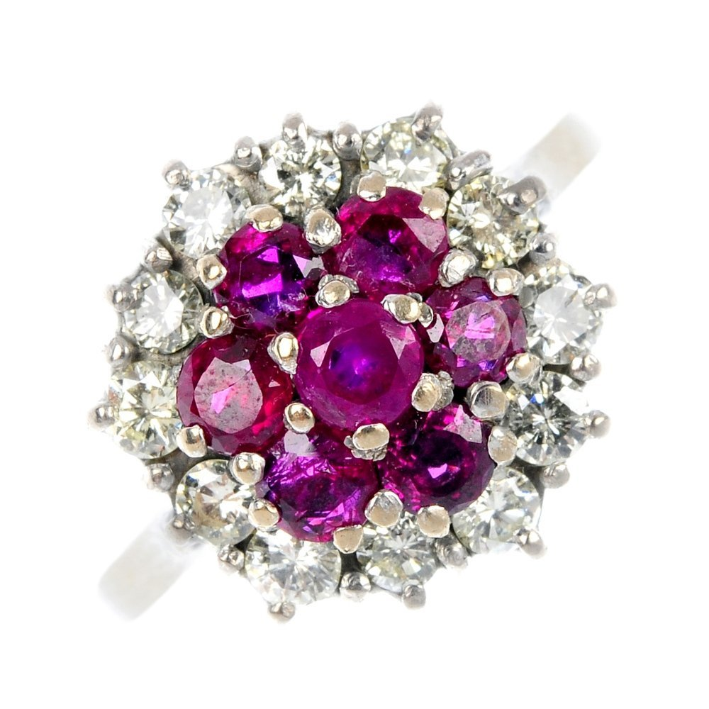4: A ruby and diamond cluster ring.