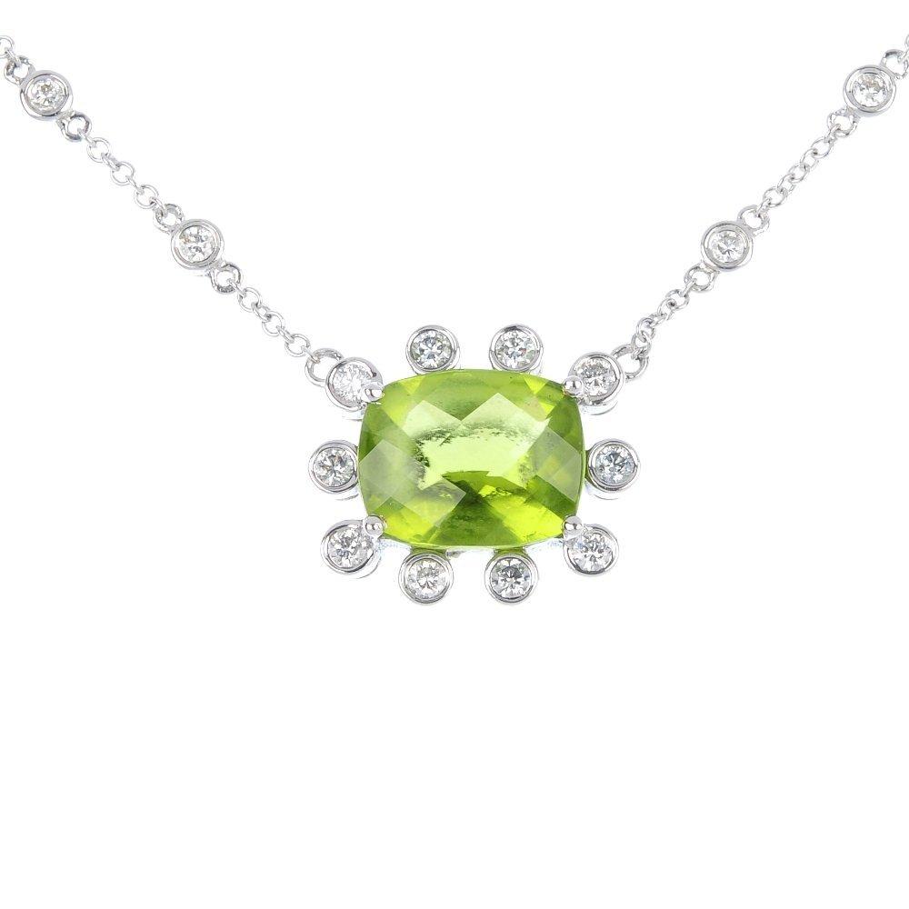 6: A peridot and diamond necklace.