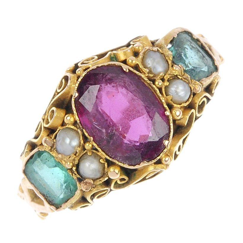 8: A Victorian gold gem-set ring.