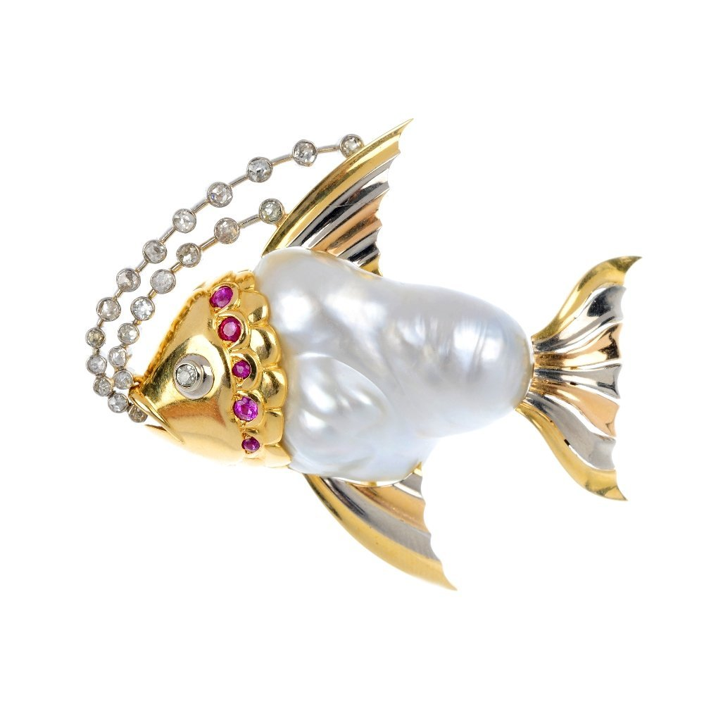 24: A 1940s 18ct gold baroque cultured pearl and gem-se