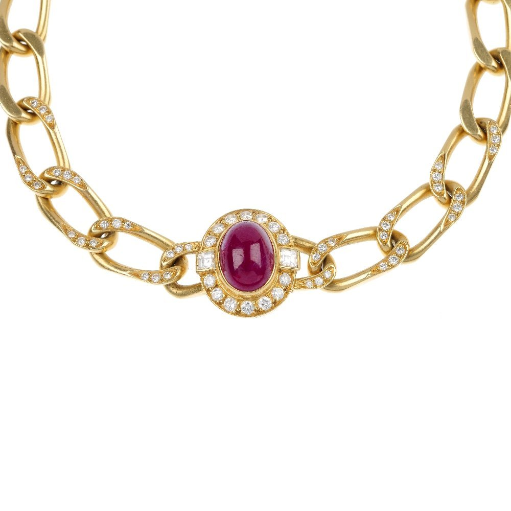 226: CARTIER - a 1970s 18ct gold ruby and diamond neckl