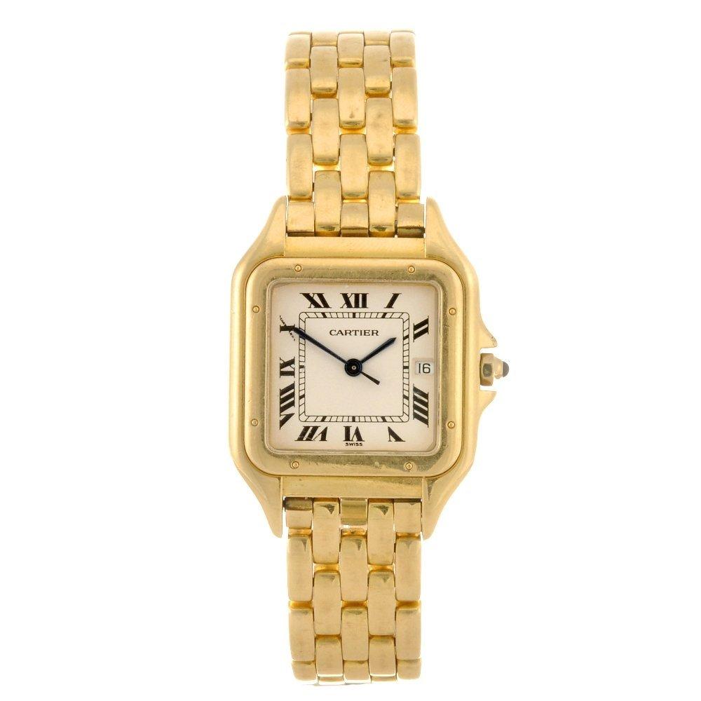 13: (173396) An 18k gold quartz Cartier Panthere bracel
