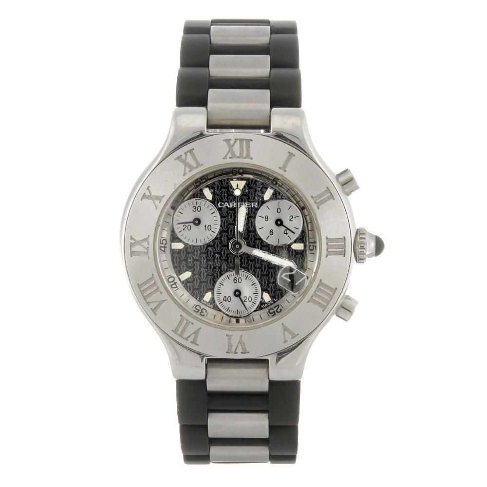 17: (176444) A stainless steel quartz chronograph Carti