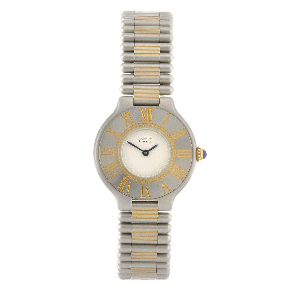 23: A bi-colour quartz Cartier 21 bracelet watch.