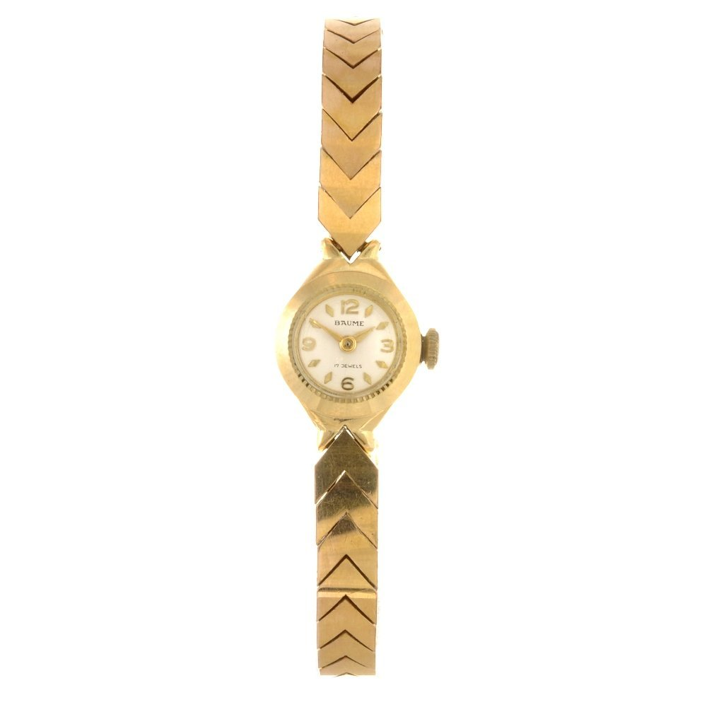 1: A gold plated manual wind lady's Baume bracelet watc