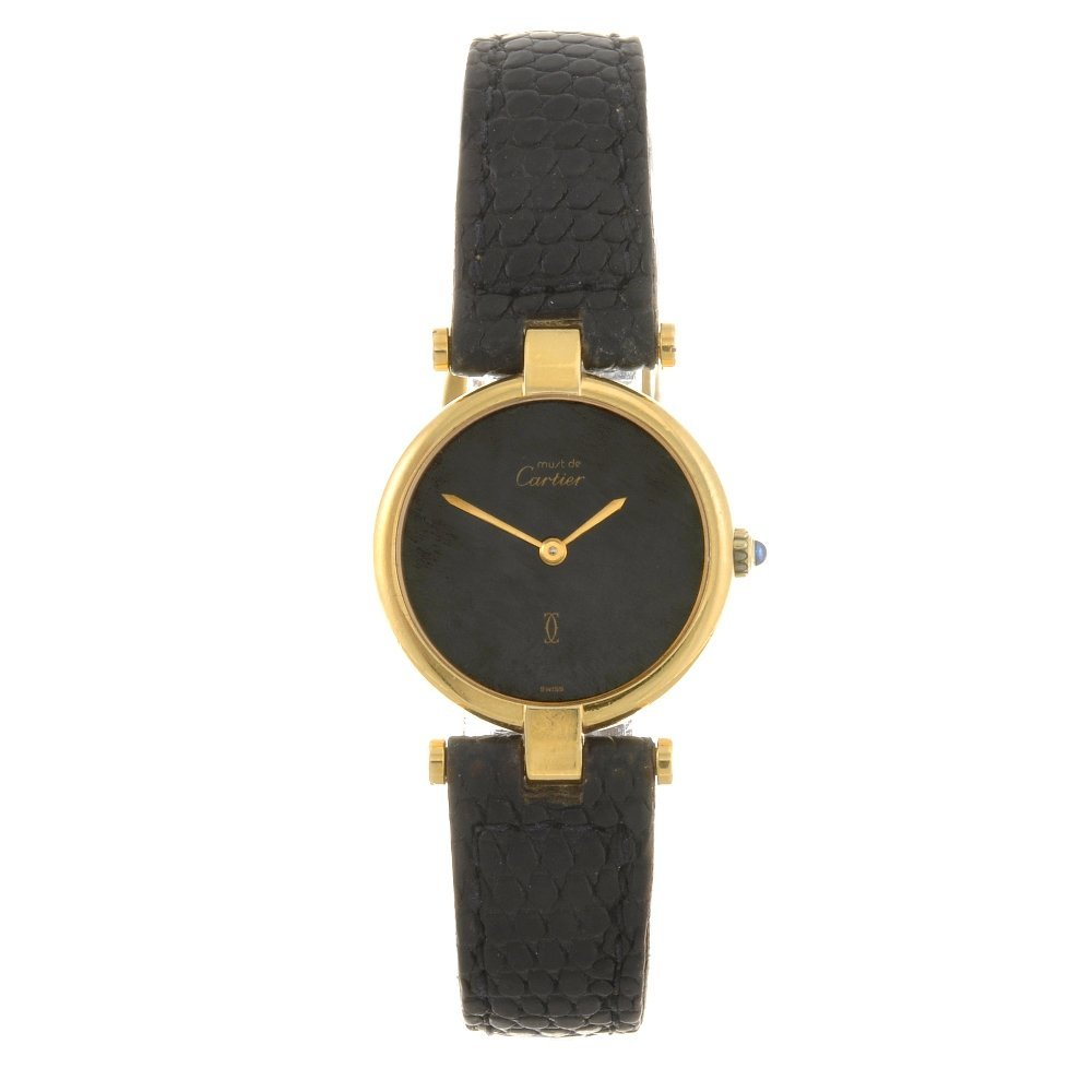 22: A gold plated quartz lady's Cartier wrist watch.