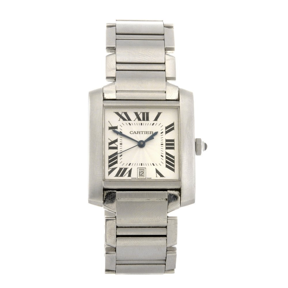 23: (1102015654) A stainless steel automatic Cartier Ta