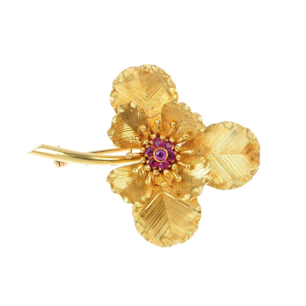 2: An 18ct gold ruby floral brooch.