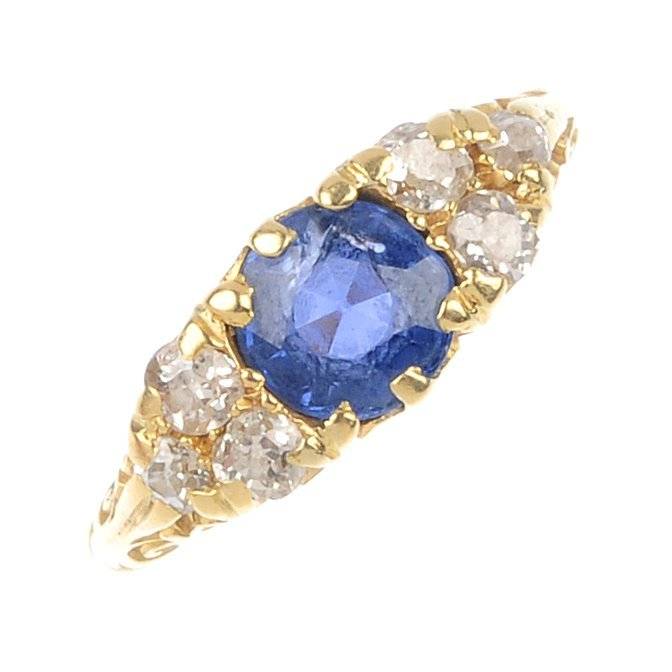3: A mid 20th century 18ct gold sapphire and diamond ri