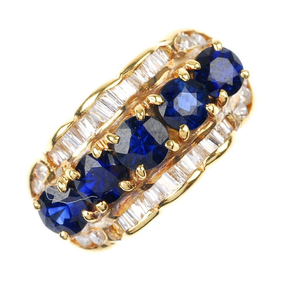 9: A sapphire and diamond ring.