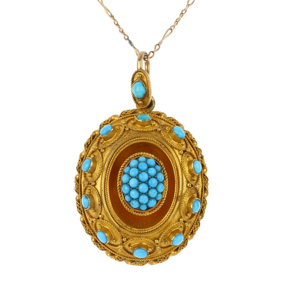 13: A Victorian 15ct gold turquoise pendant, circa 1860