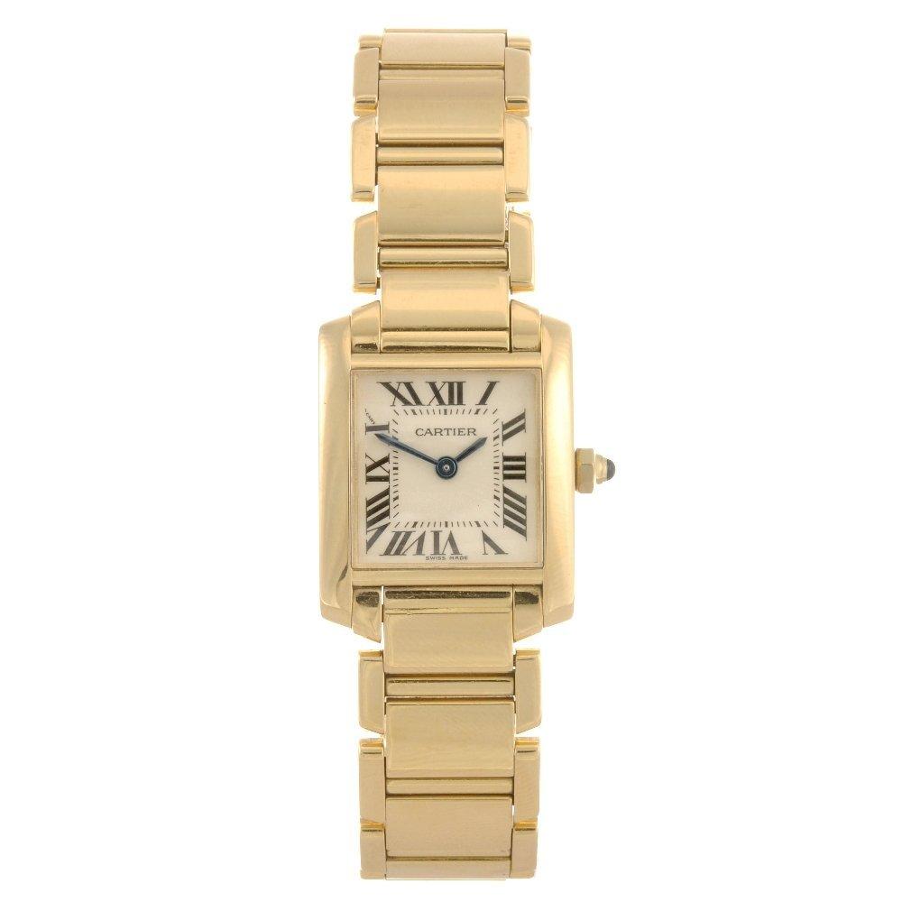 18: (28481) An 18k gold quartz Cartier Tank Francaise b