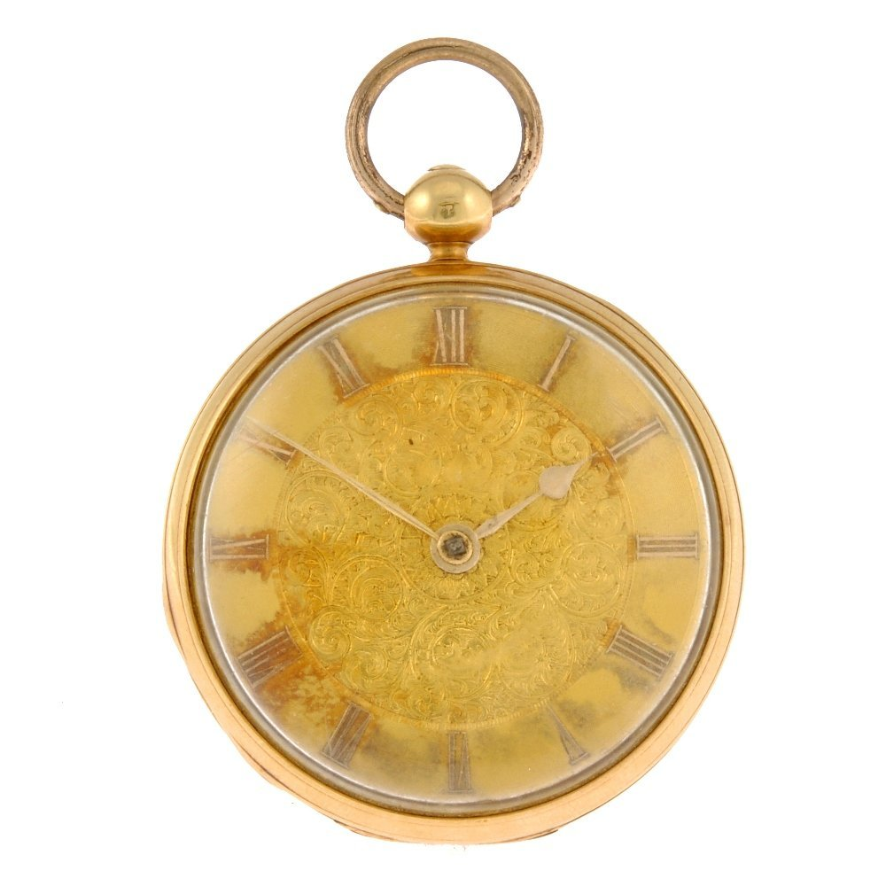 6: An 18ct gold key wind open face pocket watch.