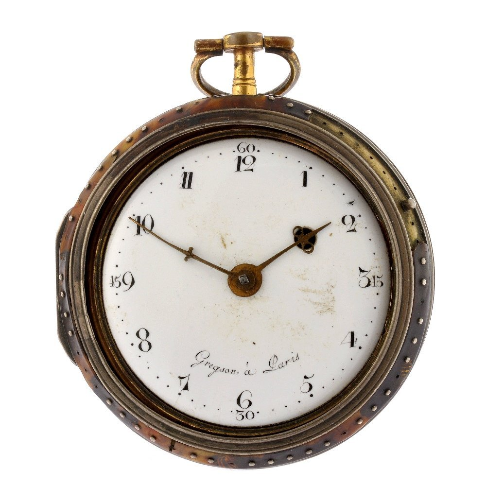 7: A decorated enamel key wind open face pocket watch s