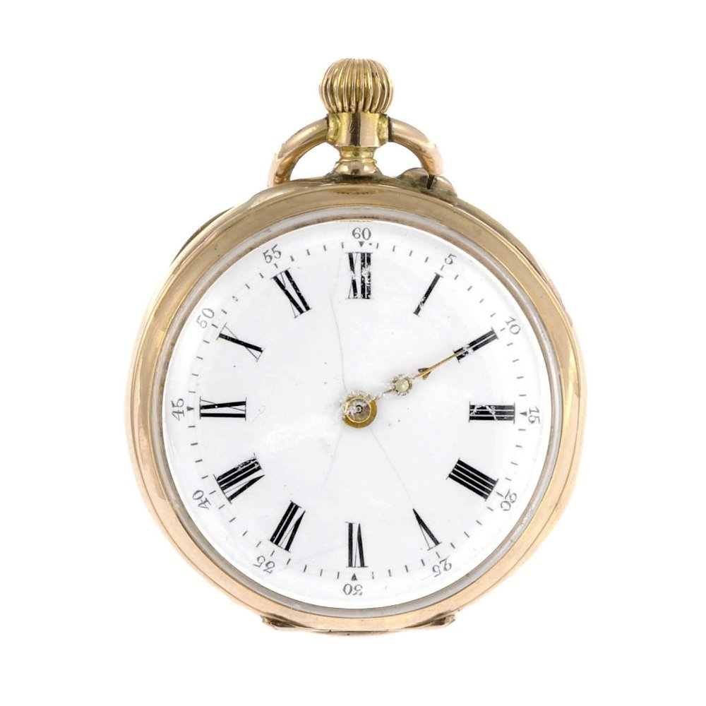 13: A 14k gold keyless wind open face fob watch.