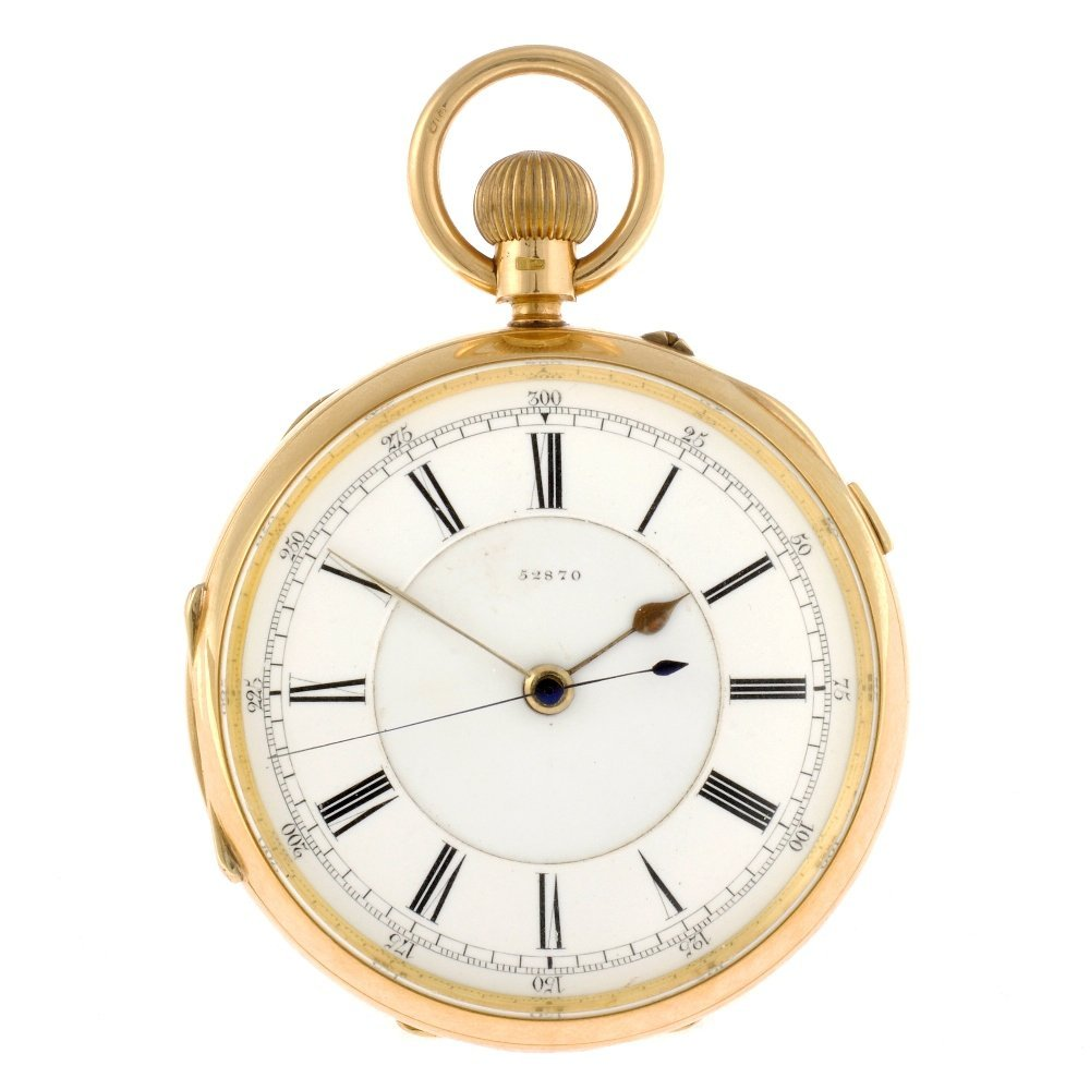 14: An 18ct gold keyless wind open face centre seconds