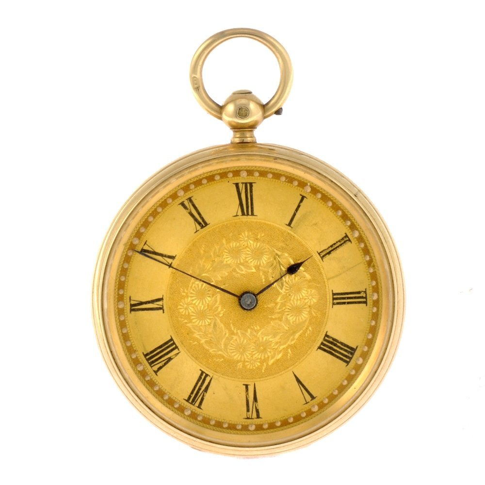16: An 18ct gold key wind open face John Walker pocket
